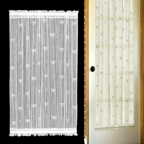Lace Door Curtains Dragonfly Sheer Lace French Door Panels By