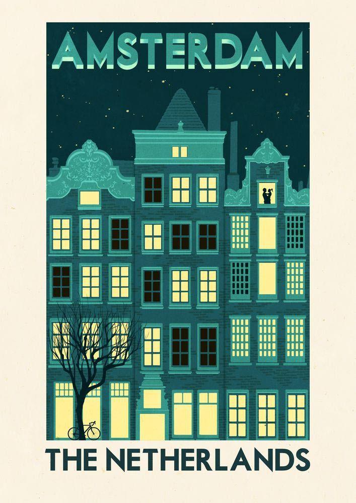 Click to enlarge illustration vintage travel poster amsterdam the netherlands holland