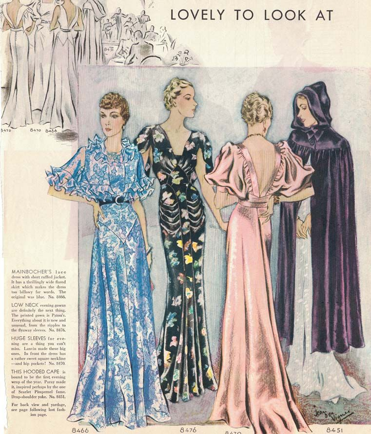 43629d1a490 Bias cut gown illustration-McCalls magazine 1935  30sfashion  1930sfashion   artdecofashion