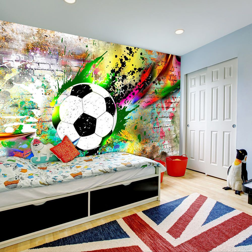 details zu vlies fototapete tapeten wandbilder tapete fu ball graffiti sport i c 0095 a a. Black Bedroom Furniture Sets. Home Design Ideas