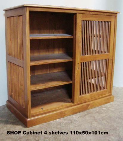 Shoe Cabinet 110x50x101 Sliding Slat Door Sept 09 Baliette Home