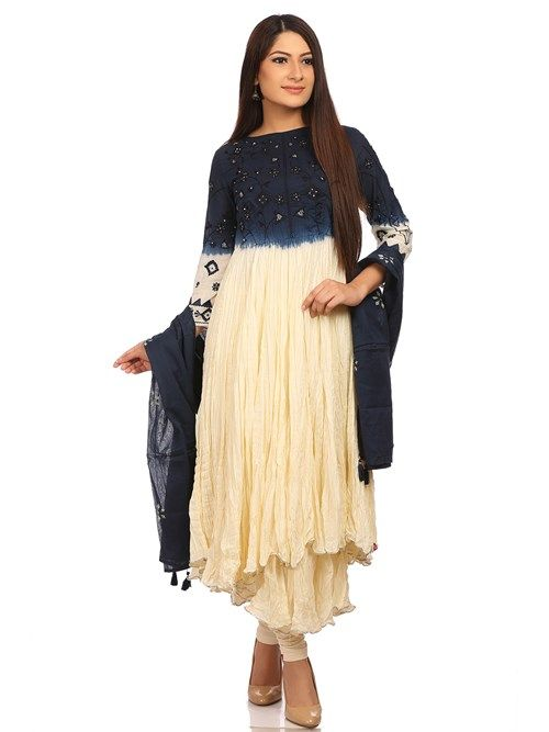 Shop Off White Flared Cotton Suit Set online at Biba.in-SKD4719OWHT