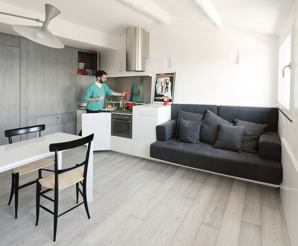 Minimalist Design Attic Living Room And Kitchen Combo  Interior Cool Living Room Minimalist Design Design Decoration