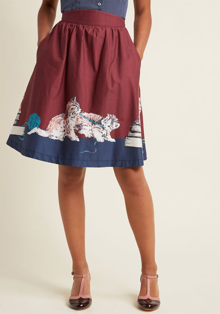 de24aedbb0c Style Study A-Line Skirt in Scholarly Kitties in 1X - Full Skirt by ModCloth  - Plus Sizes Available