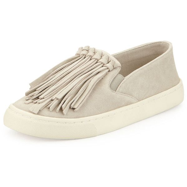 525563fb6222 Tory Burch Fria Fringe Suede Slip-On Sneaker ( 250) ❤ liked on Polyvore  featuring shoes