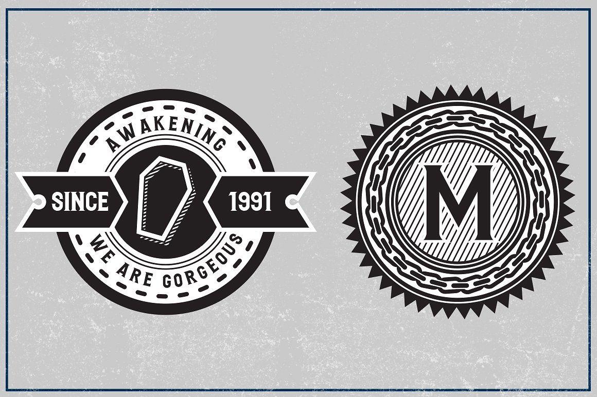 5 Circle Badges + Bonus Font Old fonts, Badge, Circle