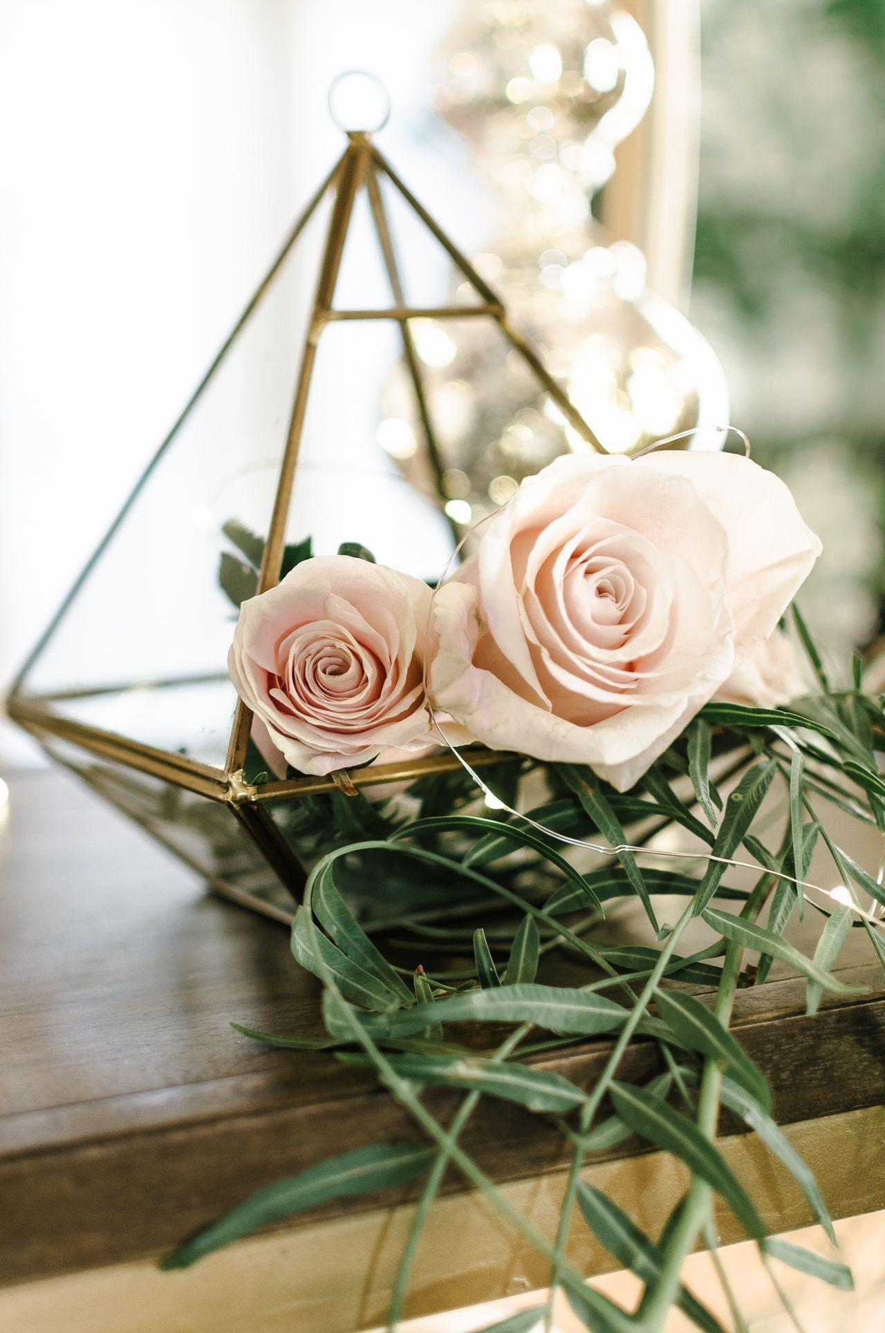 Gold Geometric Terrarium With Blush Roses Geometric Wedding Decor Wedding Flower Arrangements Pink Geometric Terrarium Wedding