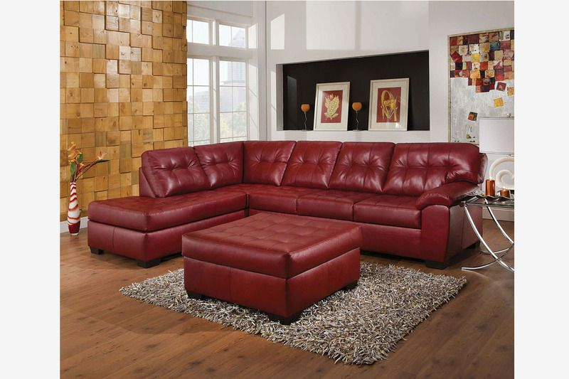Acme Modern Red Tufted Leather Sectional Sofa Couch Chaise Ottoman