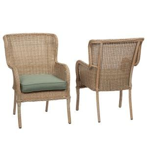 Hampton Bay Lemon Grove Stationary Wicker Outdoor Dining Chair With Surplus Cushion 2 Pack D11230 D At The Home Depot Mobile