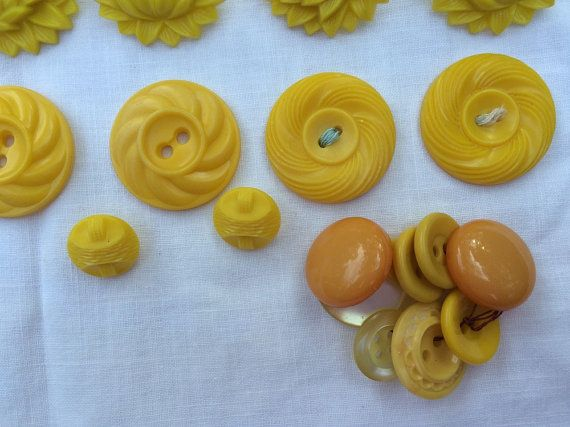 Yellow Collection Mixed Lot of Buttons and Fancy by vintagemb60