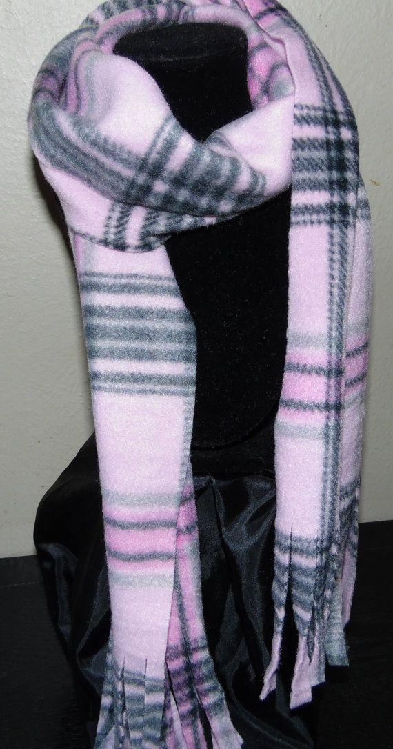 Pink & Gray Plaid Fleece winter scarf child preteen tween Christmas ...