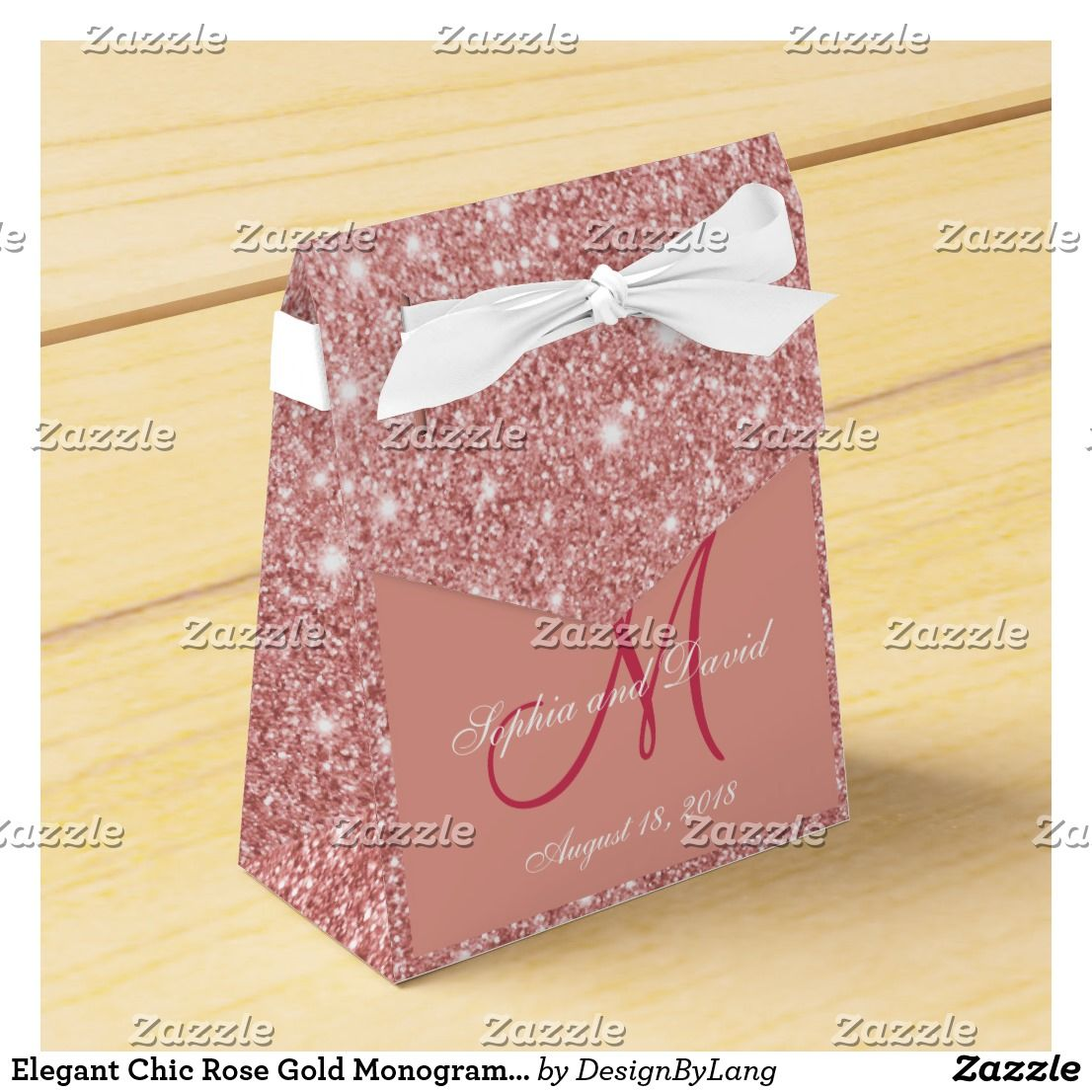 Elegant Chic Rose Gold Monogram Wedding Favor Favor Box | Wedding ...