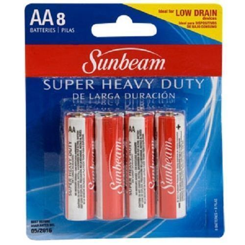 Sunbeam Super Heavy Duty Aa Batteries 8 Pack Ideal For Low Drain Devices Heavy Duty Batteries Sunbeam