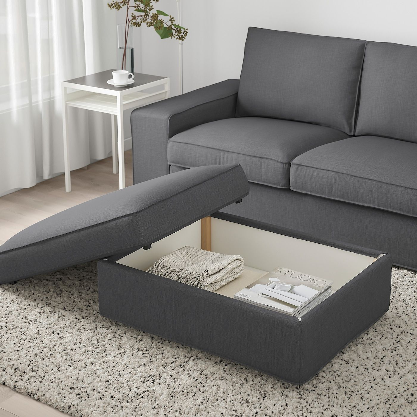 Ikea Kivik Skiftebo Dark Gray Ottoman With Storage In 2020