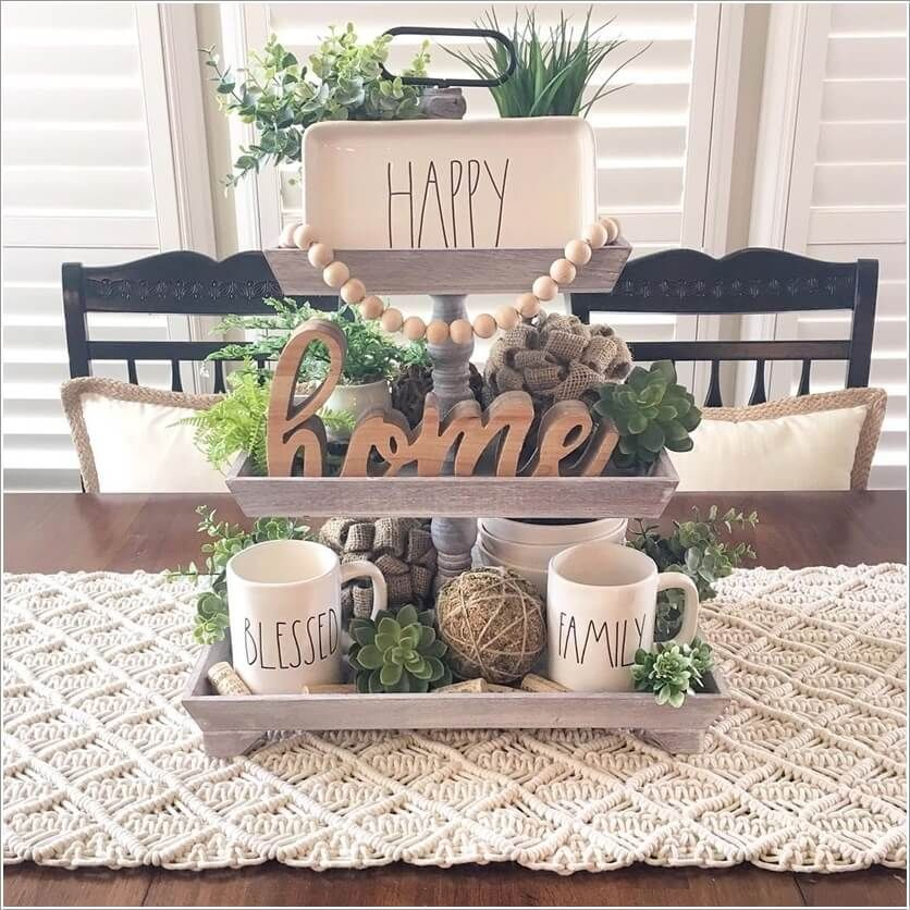 Ideas To Decorate With A 3 Tier Tray Beautiful Dining Room Table Kitchen Table Decor Kitchen Tray Decor