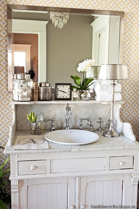 Used Bathroom Vanity Cabinets White Mdf Bathroom Cabinet: Vintage Furniture Used As Bathroom Vanity.