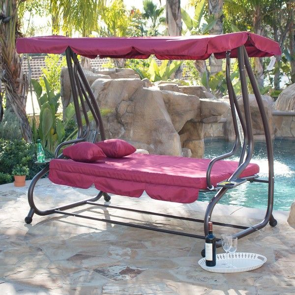 Outdoor Canopy Porch Swing Bed Hammock Tilt Canopy With Steel Frame