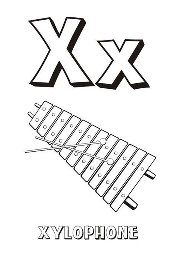 Alphabet Letter X Is For Xylophone Coloring Page Bulk Color Lettering Alphabet Coloring Pages Lettering