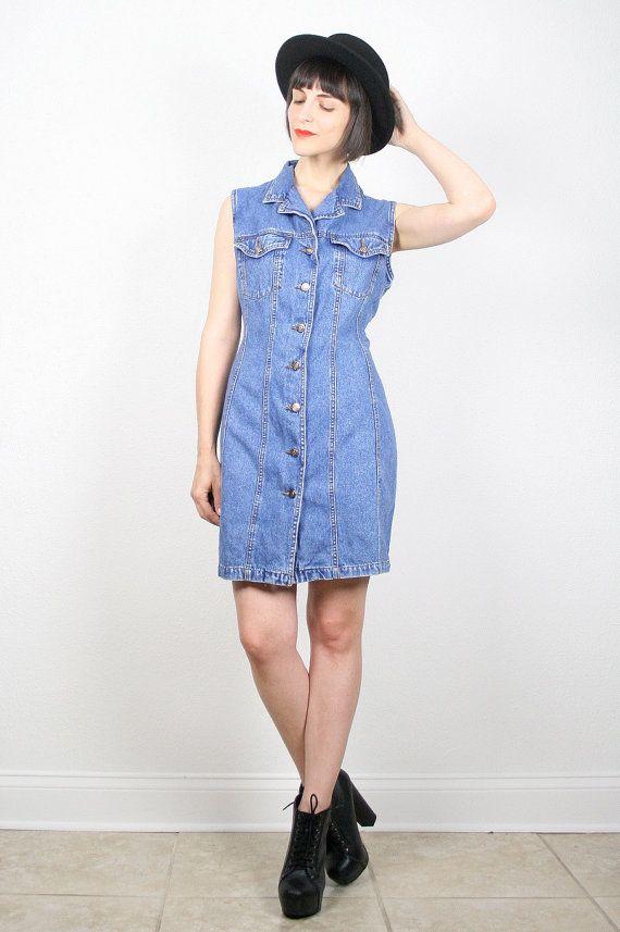 Vintage Denim Dress Jean Dress Jean Jumper Mini Dress Blue Etsy Vintage Denim Jeans Dress Vintage Denim Dress