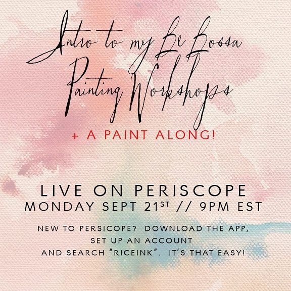 This coming Monday let's meet up on @periscope_tv!!! This one is perfect for anyone curious about my painting workshops.  I'll offer an open q&a session plus of course a paint along!! #periscopeartist #periscopepainter #artist  #howtopaint #watercolorworkshop