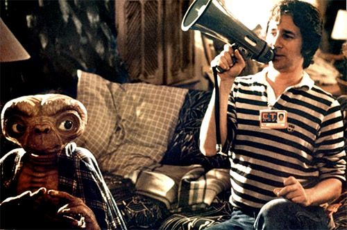 Steven Spielberg on the set of E.T.    1982