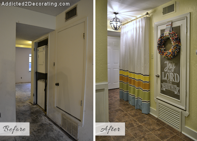 My Small Condo Laundry Room A K A Hallway Makeover Before After Addicted 2 Decorating Small Condo Small Condo Decorating Hallway Makeover