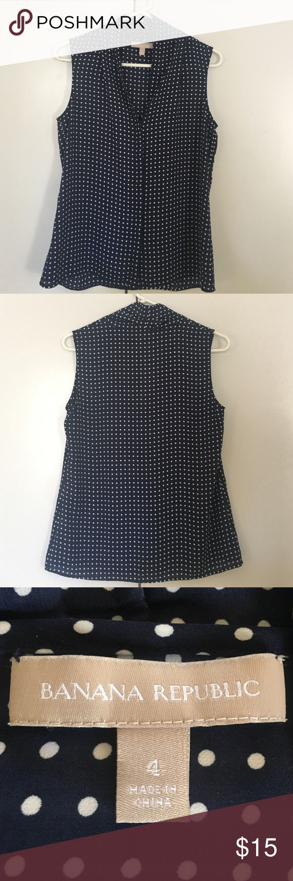 Navy Banana Republic sleeveless work blouse Light weight navy blue polka dot blouse, perfect for business casual outfits. Size 4. Good condition. Banana Republic Tops Blouses