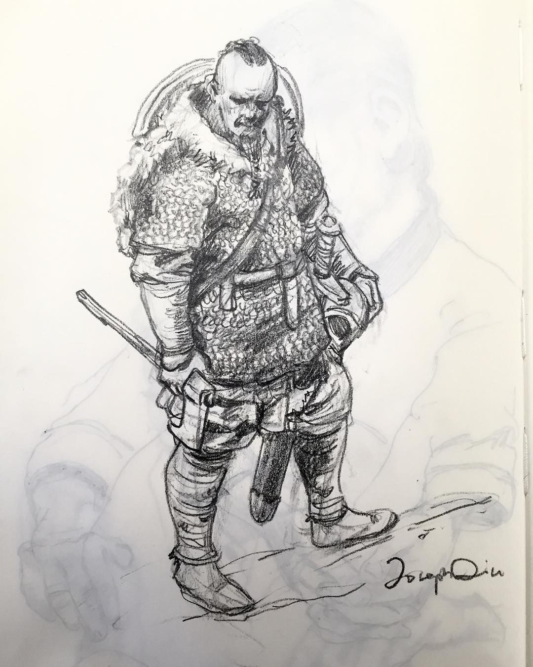 Morning doodle on sketchbook vikings drawing for Viking pencils