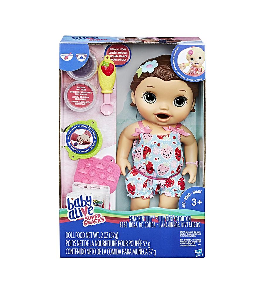 Baby Alive Super Snacks Snackin Lily Brunette Baby Alive Baby Dolls For Kids Baby Alive Food