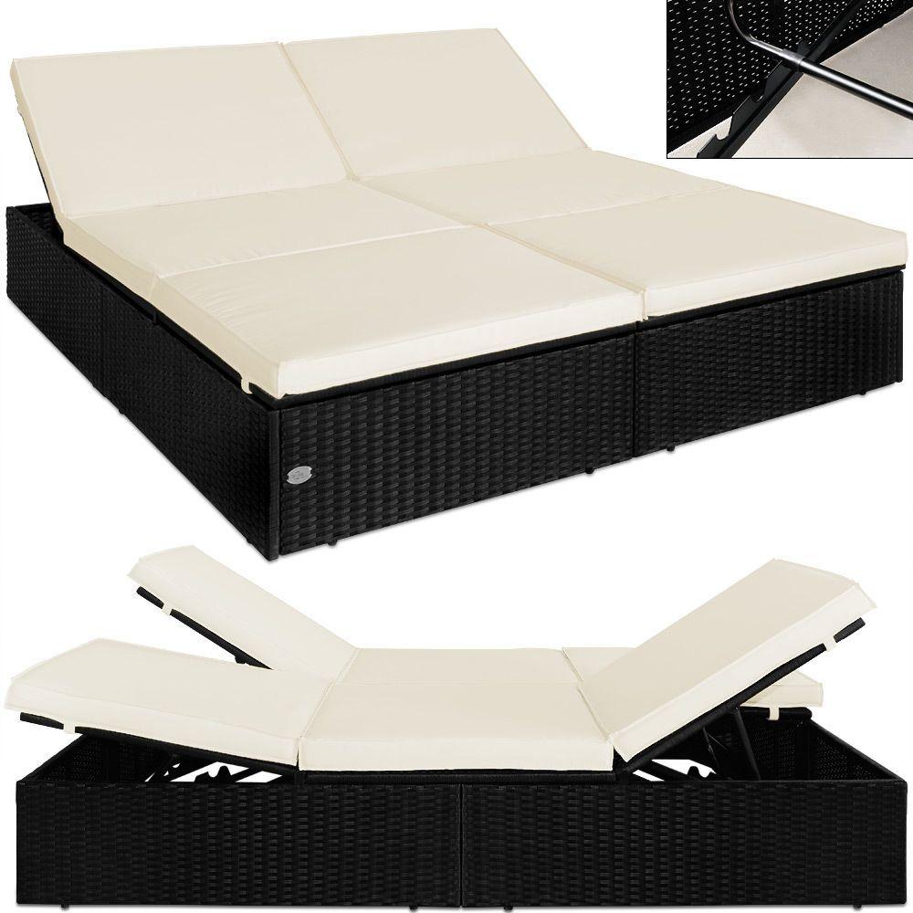 Doppel Sonnenliege Rattan Liege Liegestuhl Lounge Couch Sofa Gartenliege  Schwarz In Garten U0026 Terrasse, Möbel