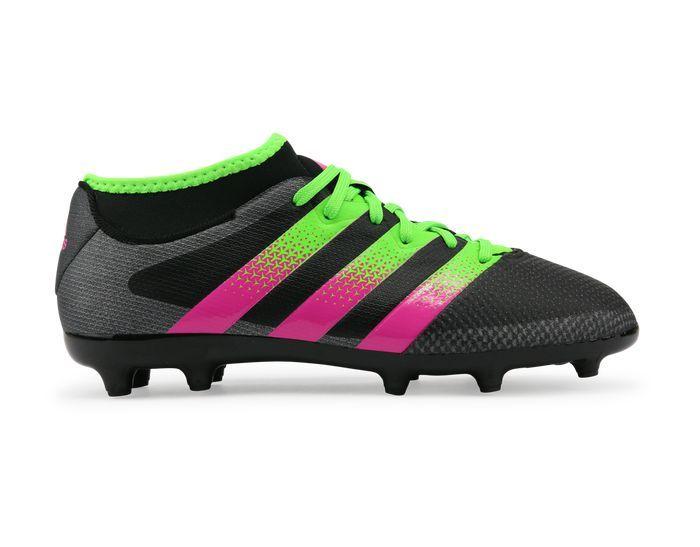 new styles c727e dc6bf adidas Kids ACE 16.3 Primemesh FG AG Black Solar Green Shock Pink
