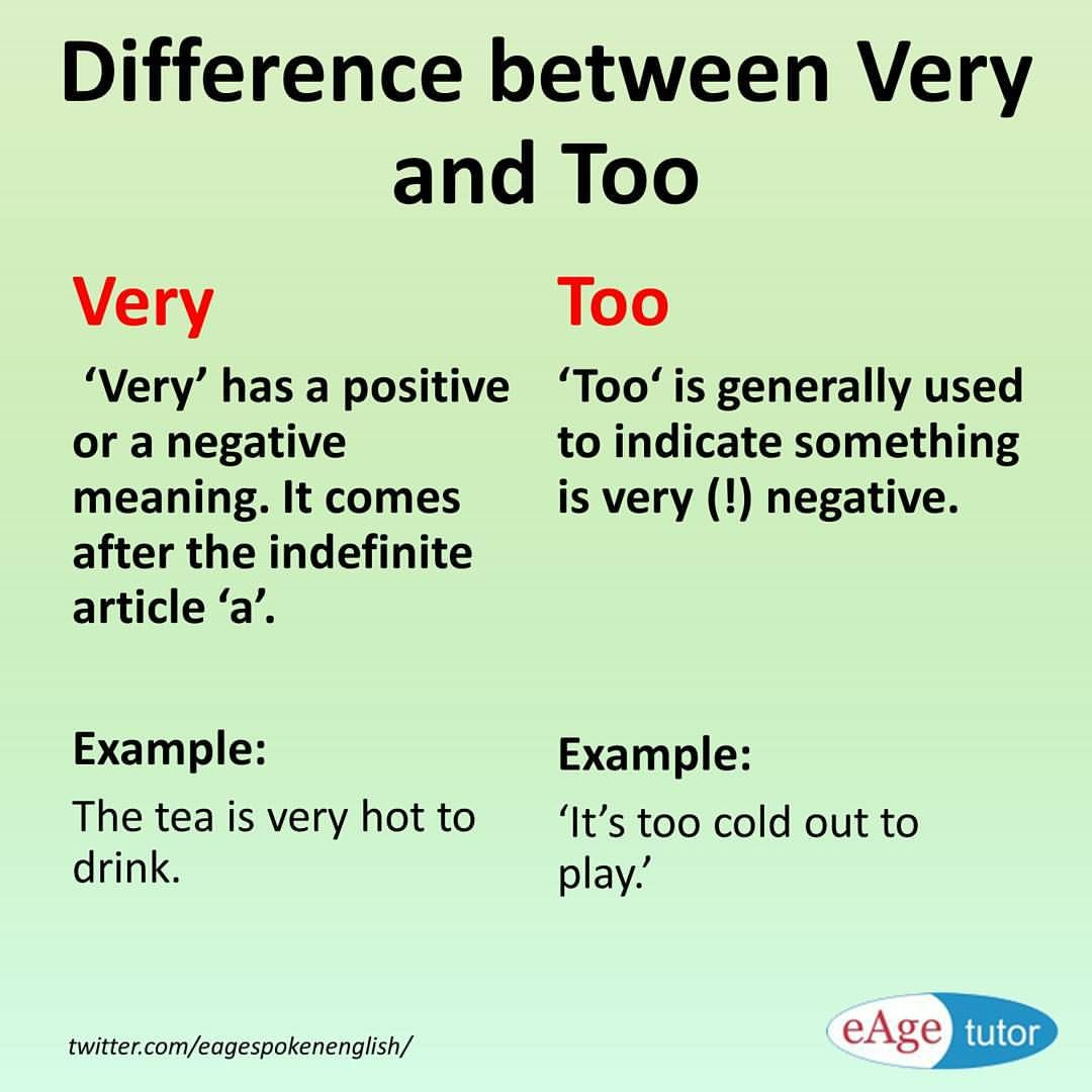 difference between very and too learn english grammar