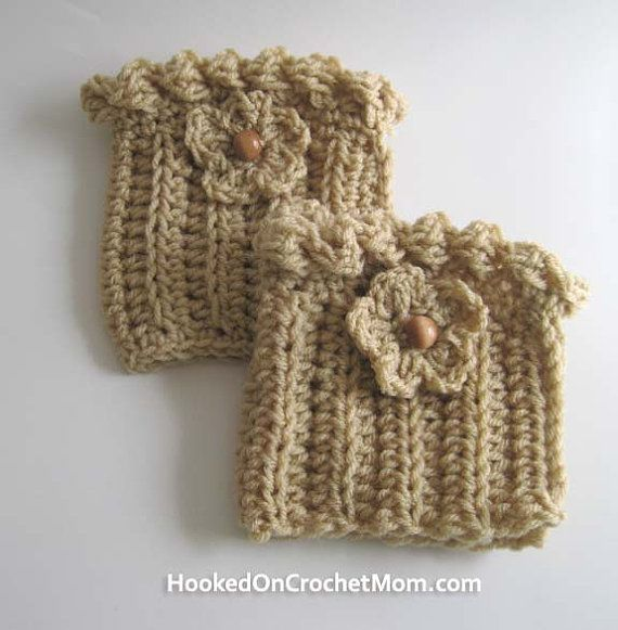 Boot Cuffs Topper Sock - Light Brown Color with Flower - Handmade ...