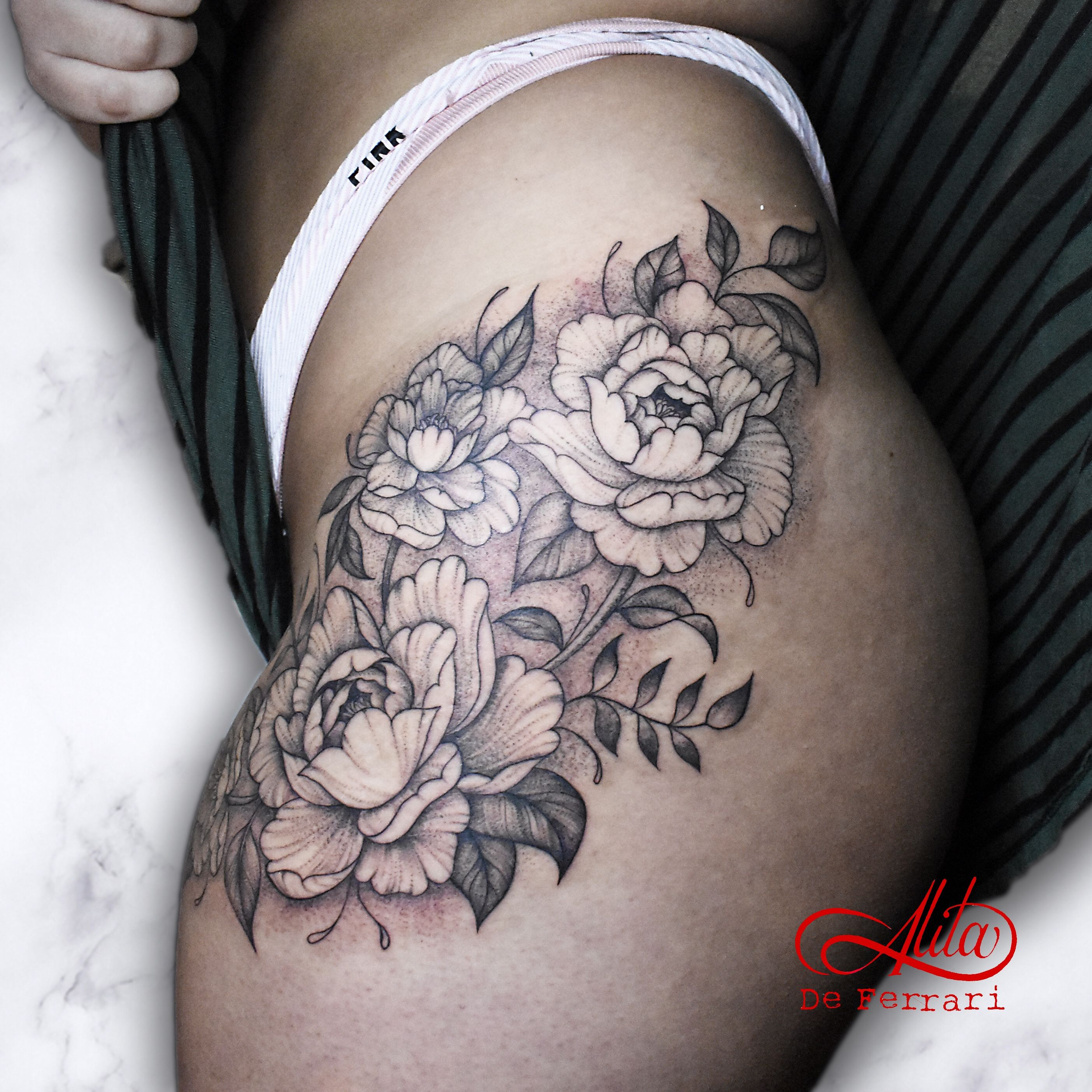 Hip peonies tattoo peony flowers delicate whipshading