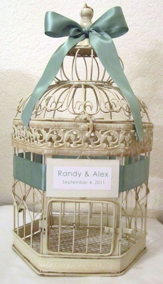 Personalized LARGE Cream Hexagonal BirdcageWedding card holder