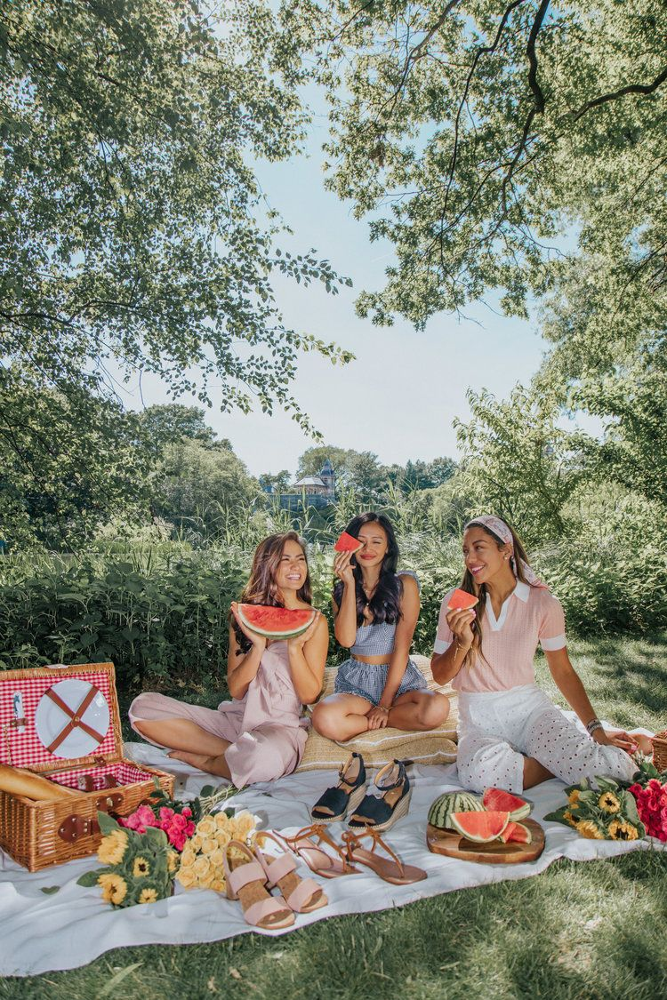 Life is sweeter with watermelon ~ cute picnic in the park with summer fruits and flowers