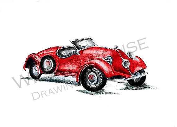 Classic Car Print/ Classic Car Drawing/ Car Sketch/ Classic Car Illustration Print
