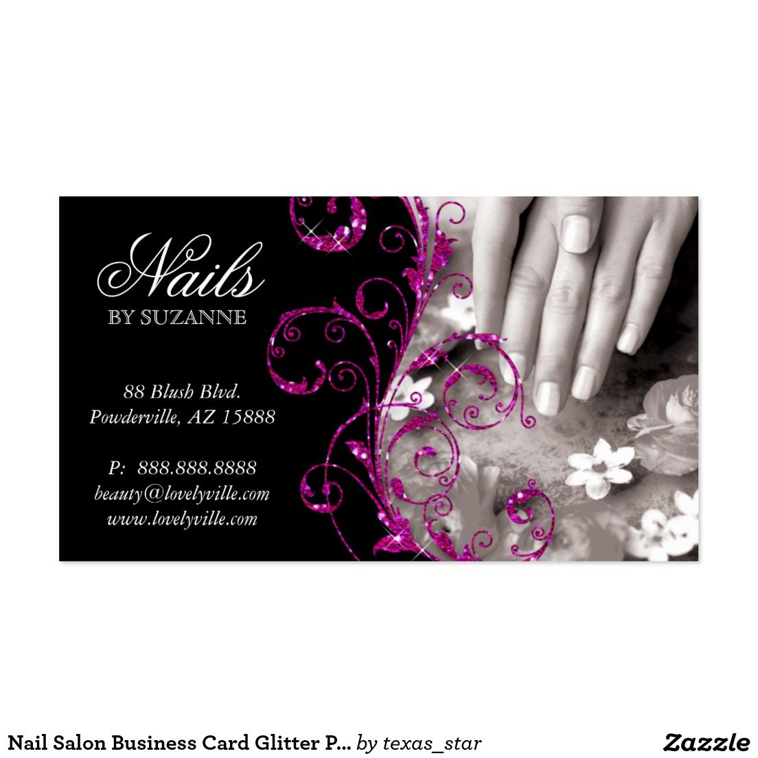 Nail Salon Business Card Glitter Pink | Nail salons and Salons