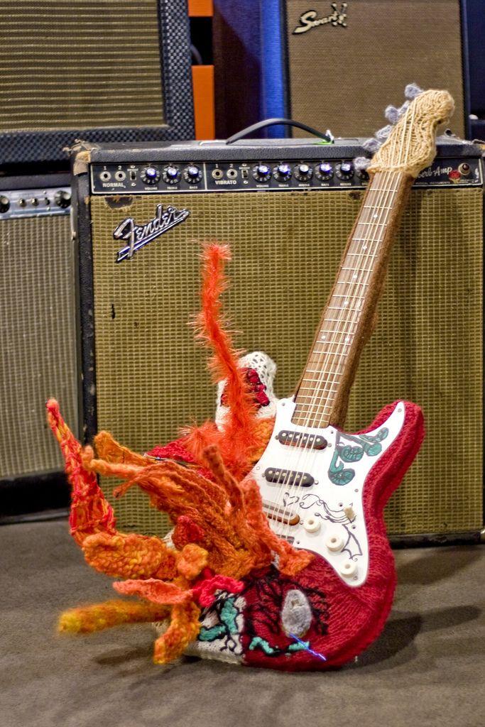 Jimi Hendrix's Guitar On Fire. Via KnitHack