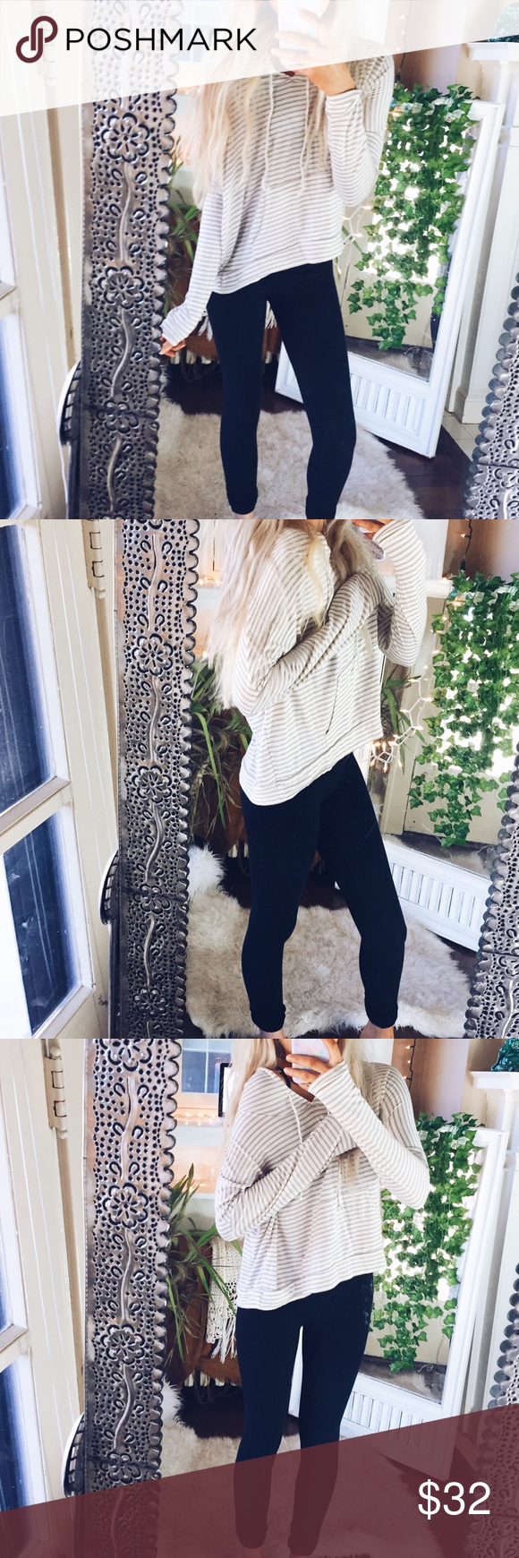 Ginger G// Hoodie Striped Tan + White F2() Fashion