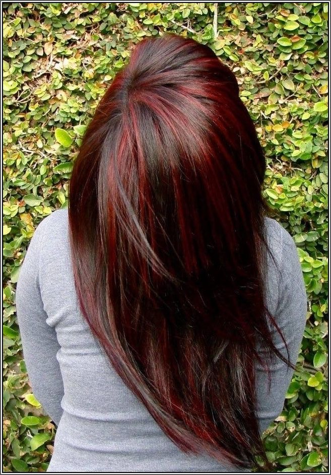 brown hair with blonde and red highlights and lowlights