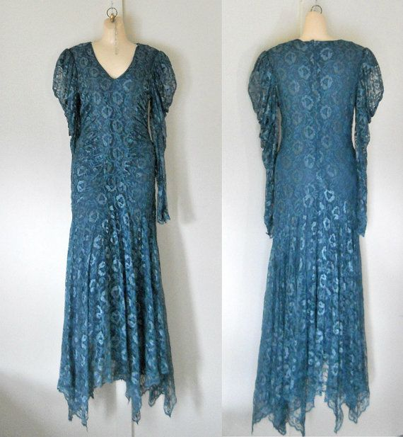 Teal Lace Dress Formal Dress Teal Wedding Dress by TheVilleVintage, $200.00