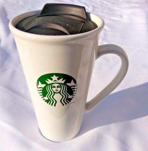 Starbucks Travel Mug W Lid Ceramic Coffee Cup 16 Oz Handle Mermaid Logo White Mugs Ceramic Coffee Cups Starbucks Coffee Travel Mugs