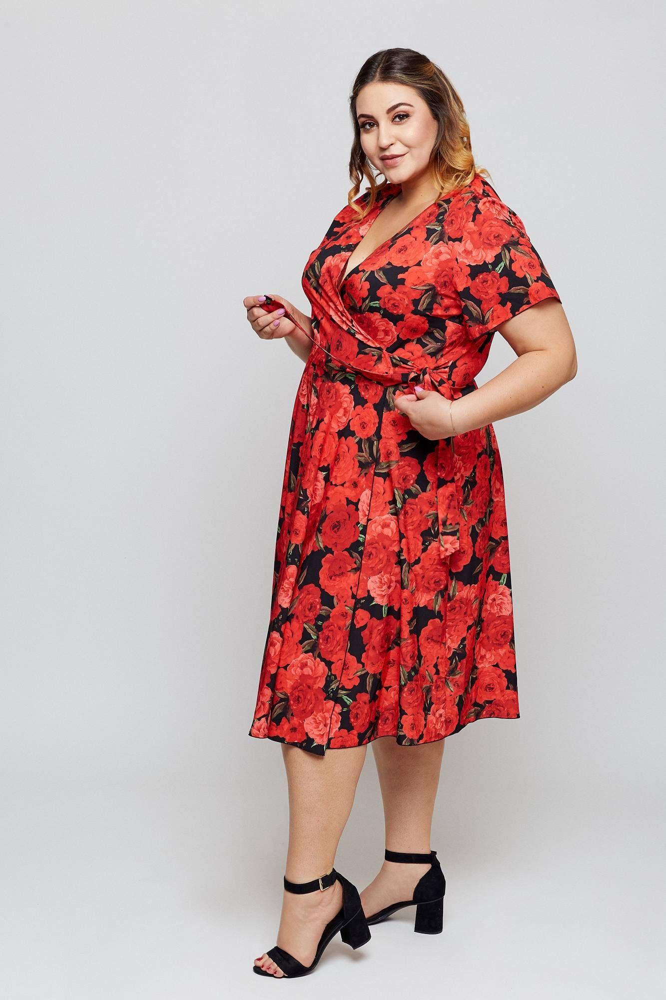 Sukienka Kasandra Wiazana Koperta Czarna W Czerwone Roze Sklep Internetowy Plus Size Plus Dresses Dresses Well Dressed