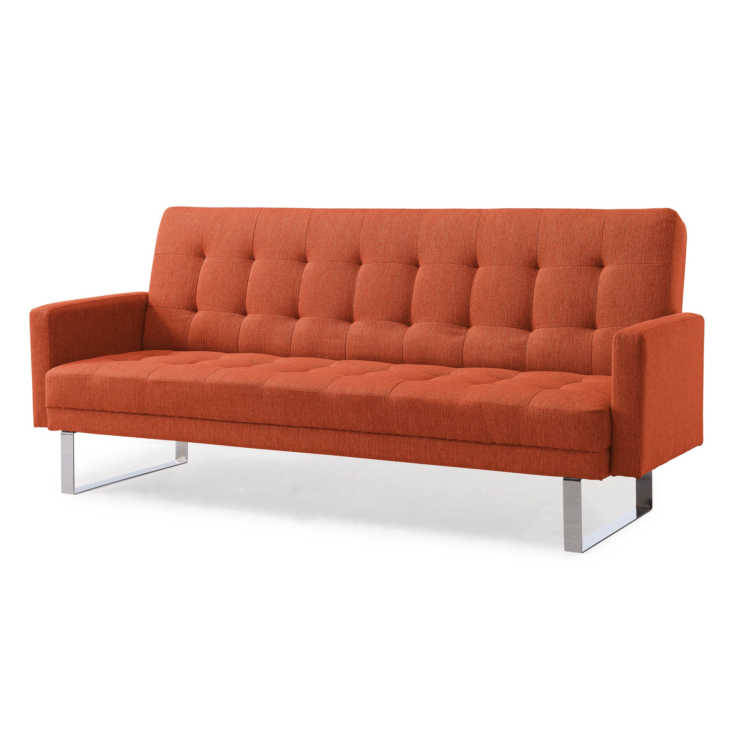 Handy Living Springfield Orange Linen Click Clack Futon Sofa Bed Free Shipping Today Com 23746047
