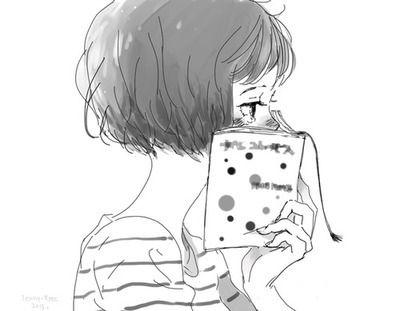 Women Reading Anime Read Anime Black And White Cartoon