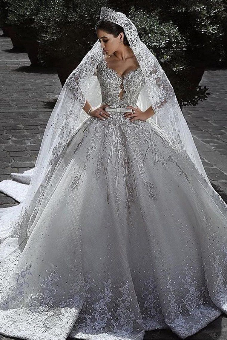 Princess Long Sleeves A Line Ball Gown Wedding Dresses With Applique Oke70 Wedding Dresses Uk Ball Gowns Wedding Crystal Wedding Dresses [ 1140 x 760 Pixel ]