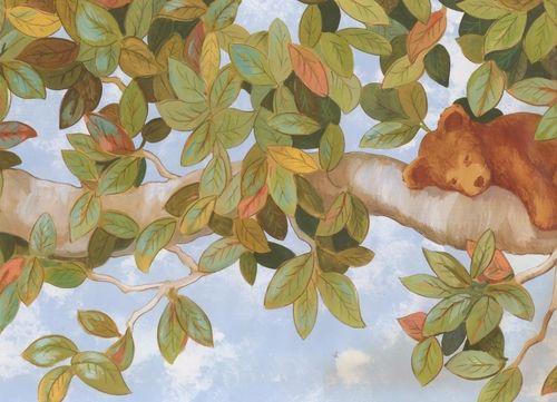 Bear on a Tree Extra Wide IT7337BD Wallpaper Border