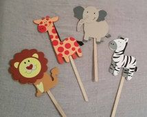 Wooden Safari Animal Cutouts Ideal For Centerpieces Games Party Decore Sticks Included And Can Be Easily Removed