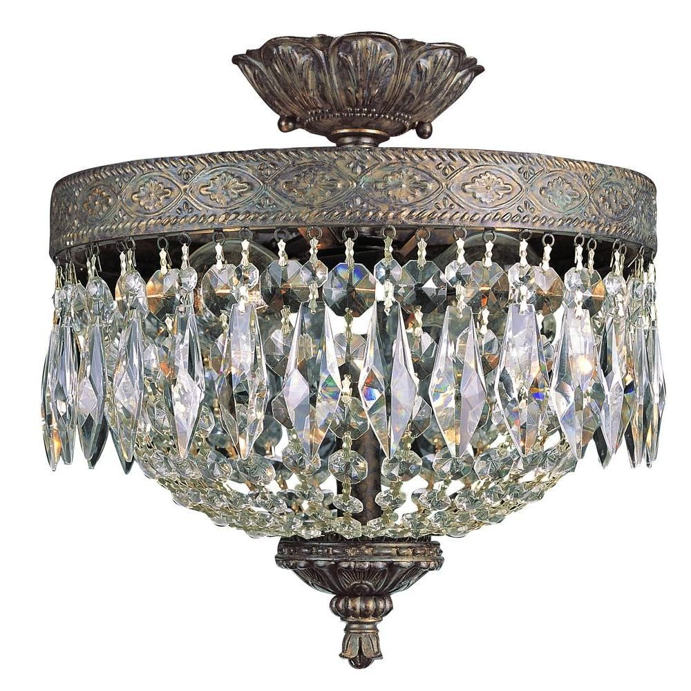 Bel Air Lighting Cabernet Collection 2 Light Patina Bronze Flushmount With Clear Crystal Prisms